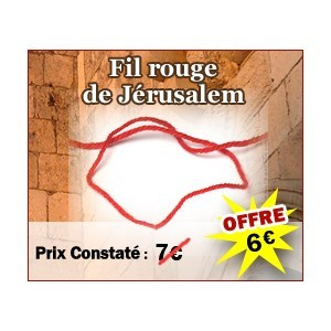 "FILS ROUGES (KABBALE) JERUSALEM, LOT DE 5 FILS ROUGE ""KOTEL"""